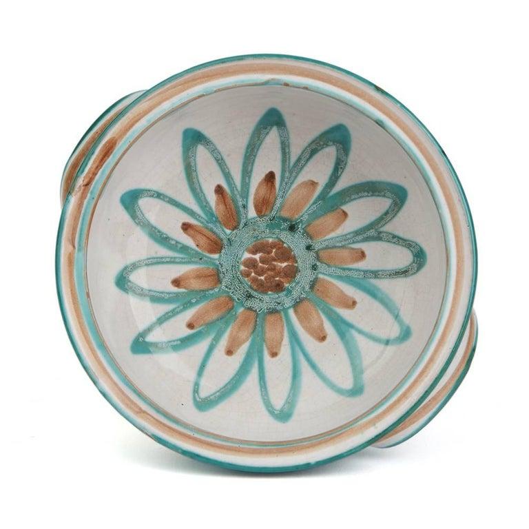 Mid-Century Modern Vintage Robert Picault Vallauris Art Pottery Handled Bowl, 1950s For Sale