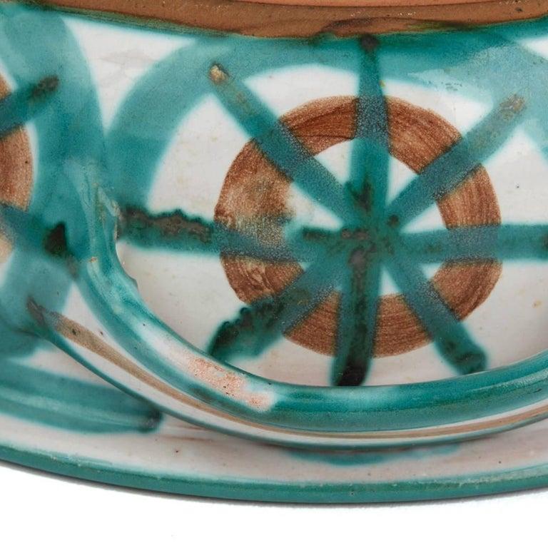 Glazed Vintage Robert Picault Vallauris Art Pottery Handled Bowl, 1950s For Sale