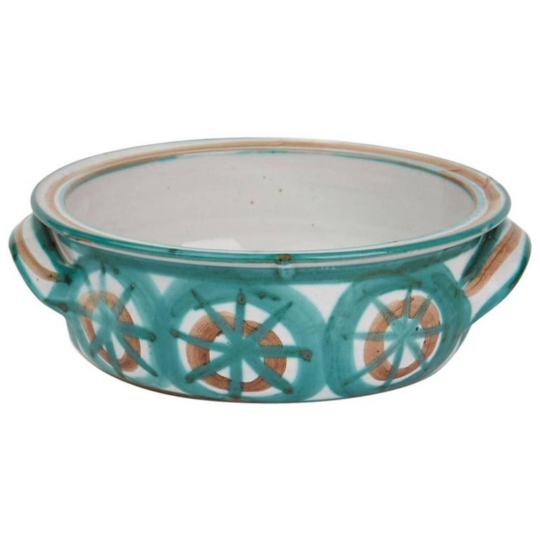 Vintage Robert Picault Vallauris Art Pottery Handled Bowl, 1950s For Sale