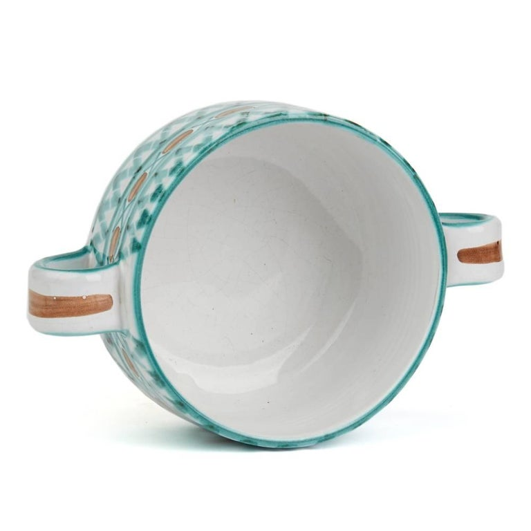 Glazed Vintage Robert Picault Vallauris Art Pottery Serving Bowl, 1950s For Sale