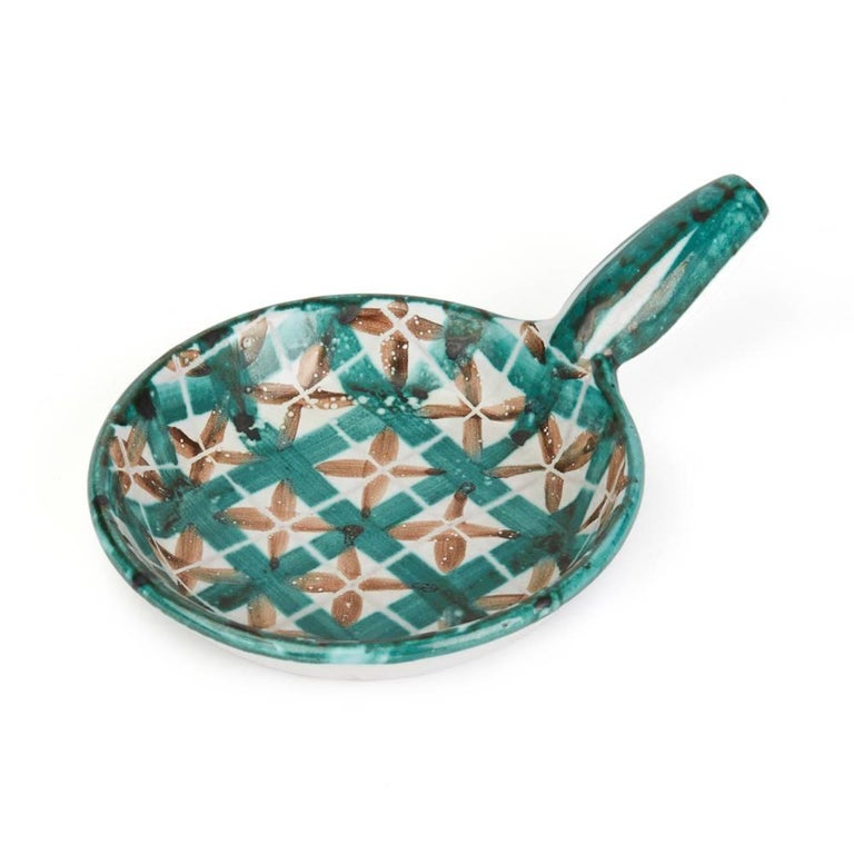 Mid-Century Modern Robert Picault Vallauris Four Teal Art Pottery Dishes, 1950s For Sale