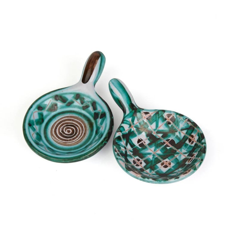 Glazed Robert Picault Vallauris Four Teal Art Pottery Dishes, 1950s For Sale