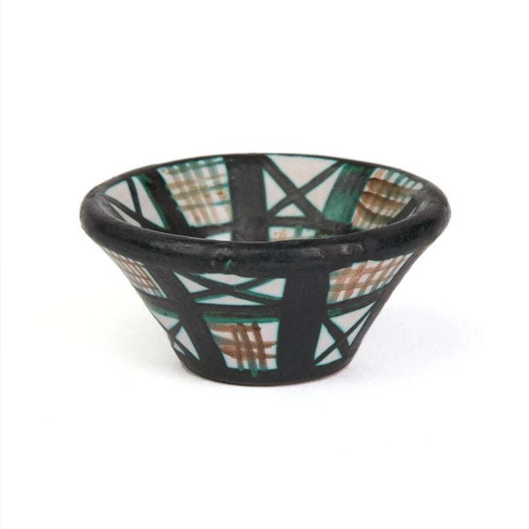 Robert Picault Vallauris Four Teal Art Pottery Dishes, 1950s For Sale 1
