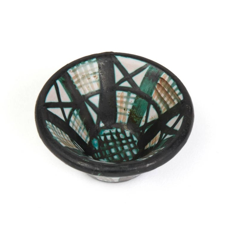 Robert Picault Vallauris Four Teal Art Pottery Dishes, 1950s For Sale 2