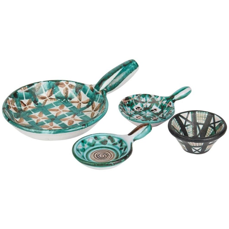 Robert Picault Vallauris Four Teal Art Pottery Dishes, 1950s For Sale