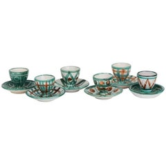 Robert Picault Vallauris Six Art Pottery Teal Eggcups, 1950s