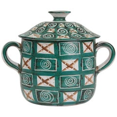 Robert Picault Vallauris Teal Art Pottery Tureen, 1950s