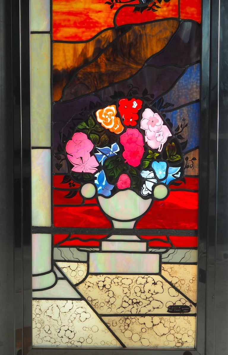 Robert Pinart and Denise Amses Pair of Glass Panels, Signed and Dated 1984 For Sale 5