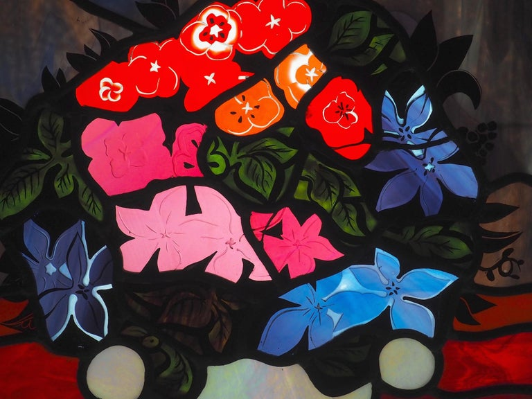 Robert Pinart and Denise Amses Pair of Glass Panels, Signed and Dated 1984 For Sale 10