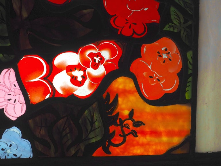 Robert Pinart and Denise Amses Pair of Glass Panels, Signed and Dated 1984 For Sale 12