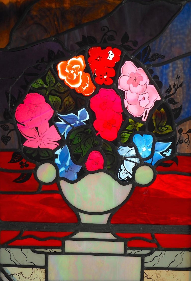 American Robert Pinart and Denise Amses Pair of Glass Panels, Signed and Dated 1984 For Sale