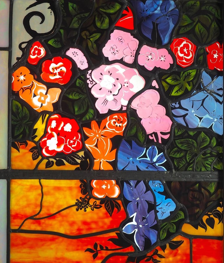 Robert Pinart and Denise Amses Pair of Glass Panels, Signed and Dated 1984 For Sale 1