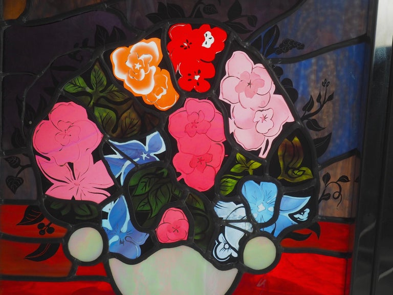 Robert Pinart and Denise Amses Pair of Glass Panels, Signed and Dated 1984 For Sale 4