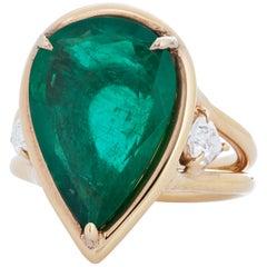 Robert Procop 6.59 Carat Zambian Emerald and Diamond 18 Karat Rose Gold Ring