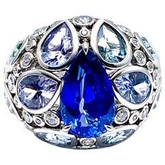 Robert Procop De La Vie 4.58 Carat Sapphire and Diamond Platinum Ring