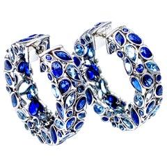 Robert Procop De La Vie Blue Sapphire and Aquamarine Platinum Hoop Earrings