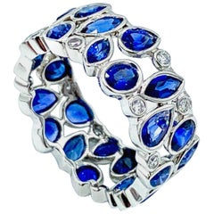 Robert Procop De La Vie Blue Sapphire and Diamond Platinum Band Ring