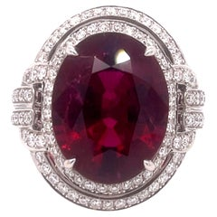 Robert Procop White Gold Rubellite Tourmaline Ring with Diamonds