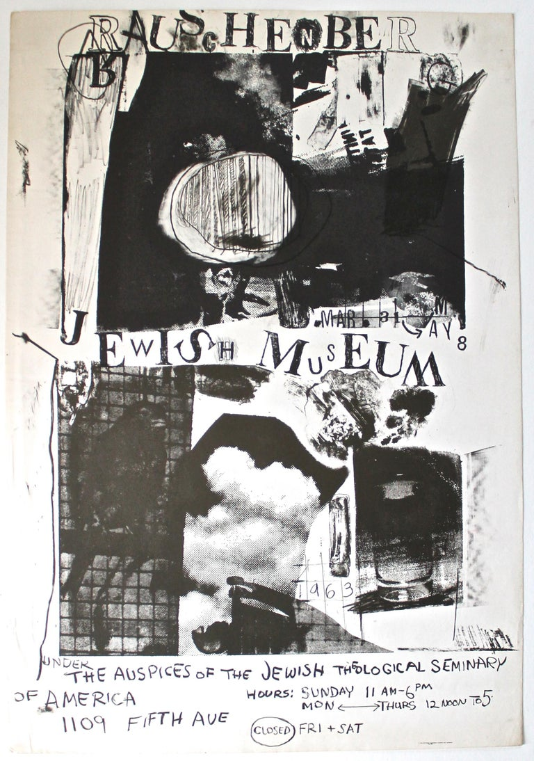 Important rare poster for Rauschenberg's first major museum retrospective. Printed offset litho in two tones of black. Unframed, will be shipped rolled ina 6