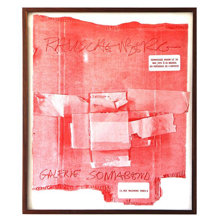 Cardbirds, 1972 exhibition, rare original red poster, Robert RAUSCHENBERG