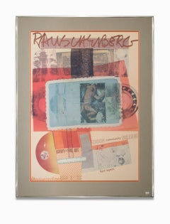 """""""Exhibition Poster-Edison Community College"""" Reds, Blue, Collage, Signed"""