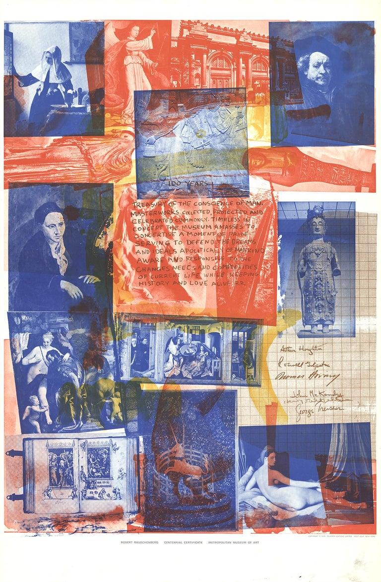 """Robert Rauschenberg-Centennial Certificate-39"""" x 25.5""""-Poster-1970-Pop Art - Print by Robert Rauschenberg"""