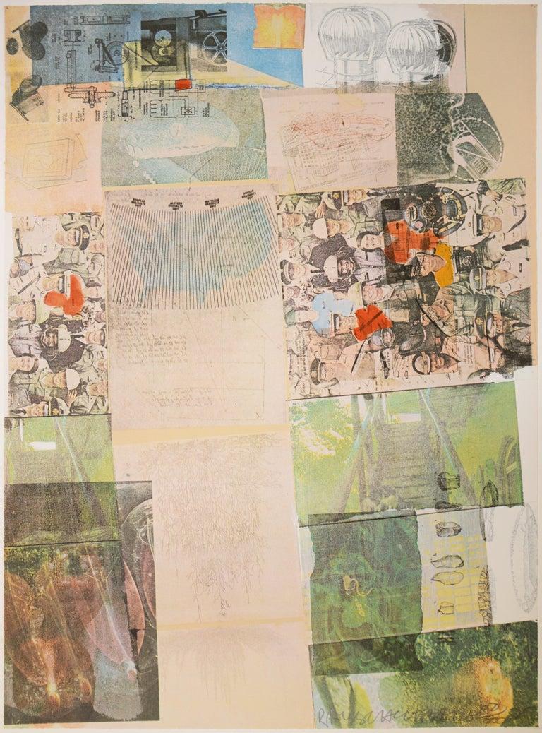 Robert Rauschenberg, Deposit from America, screenprint, collage, signed, 1975 - Beige Abstract Print by Robert Rauschenberg