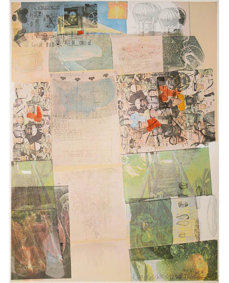 Robert Rauschenberg, Deposit from America, screenprint, collage, signed, 1975 - Print by Robert Rauschenberg