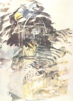 """Robert Rauschenberg-Eagle-37"""" x 27""""-Offset Lithograph-1997-Contemporary-Brown"""