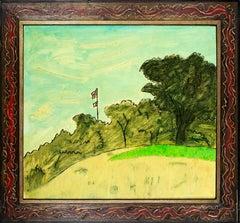 """""""American Flag,"""" Original Landscape Oil on Wood signed by Robert Richter"""
