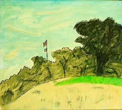 """American Flag,"" original landscape oil painting by Robert Richter"