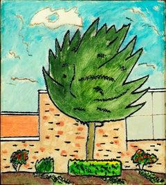 """Artichoke Tree,"" original framed landscape oil painting by Robert Richter"