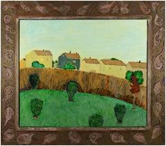 """Back Yard,"" Original Oil on Wood with Handmade Frame signed by Robert Richter"