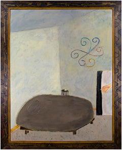 """""""Bedroom,"""" Framed Oil on Wood of Subdued Bedroom signed by Robert Richter"""