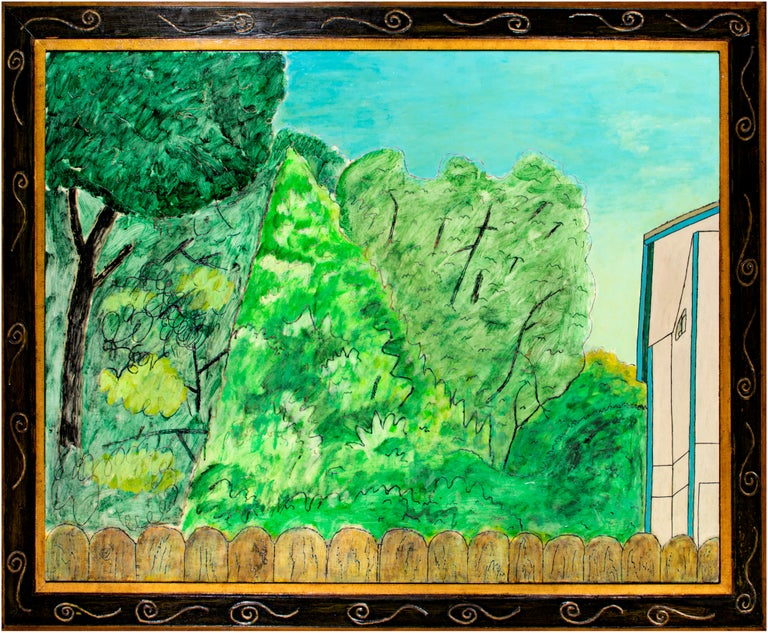 In this painting, Robert Richter depicts a view over the top of a suburban fence, peeking into the backyard of a neighbor. Over the rounded wooden pickets are thickets of trees in a Midwestern backyard. The artist purposefully challenges the