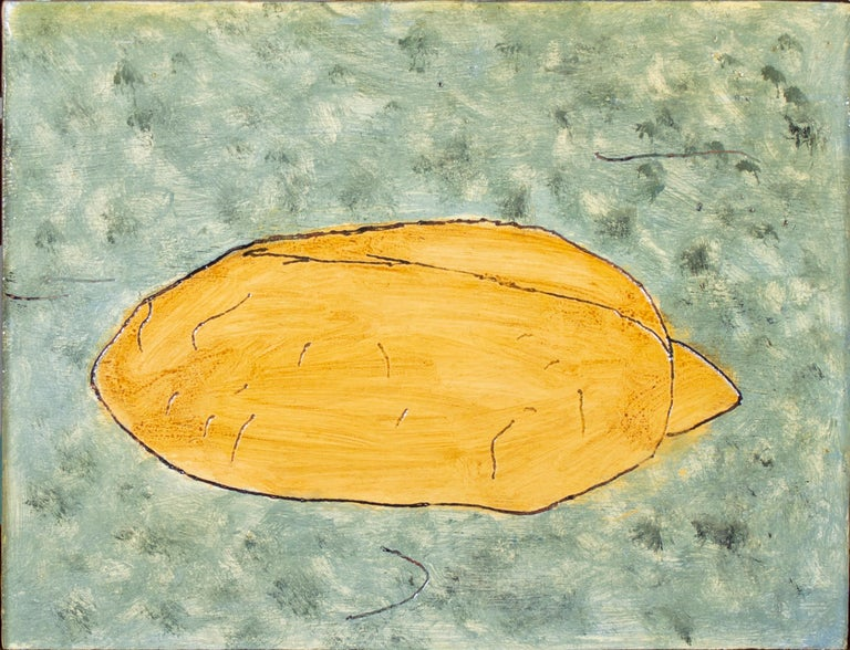 'Bread on Carpet' original oil on wood painting signed by Robert Richter For Sale 1