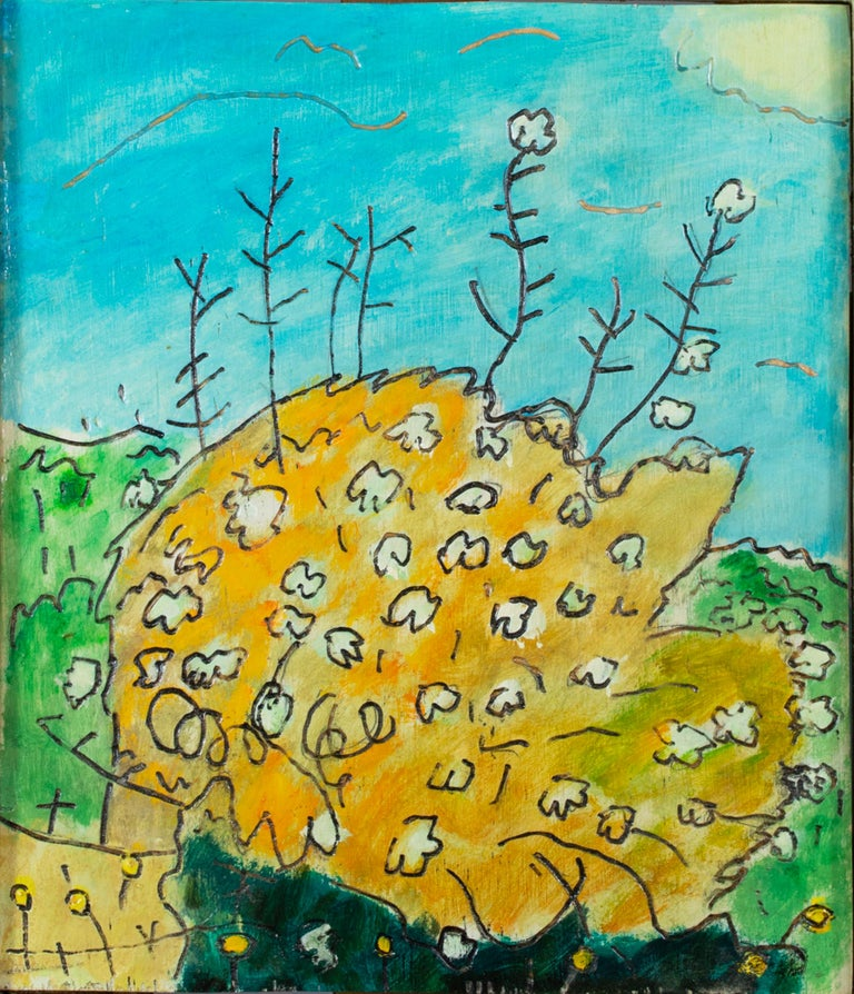 'Burning Bush' original oil on wood painting signed by Robert Richter For Sale 1