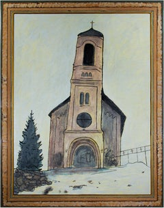 """Church In The Snow,"" Winter Landscape Oil signed on back by Robert Richter"
