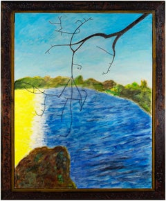 """""""Cold Sun,"""" Yellow & Blue Beach Scene Oil on Wood signed by Robert Richter"""