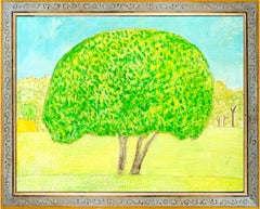 """""""Couple Tree,"""" Original Bright Landscape Oil on Wood signed by Robert Richter"""