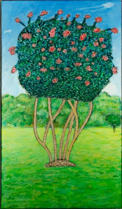 """Crepe Myrtle,"" original framed flowering tree oil painting by Robert Richter"