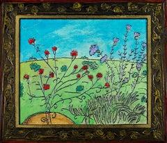 """""""Deck Flowers,"""" Original Flowery Green Landscape Oil signed by Robert Richter"""