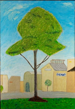 """Eye-Mart,"" original framed tree and cityscape oil painting by Robert Richter"