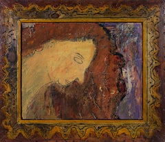 """Eyes Closed,"" Portrait of Woman Oil on Wood signed by Robert Richter"