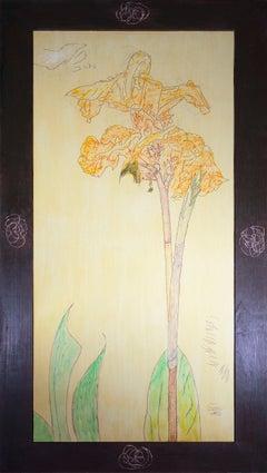 'Flower Dancer' original oil on wood painting signed by Robert Richter