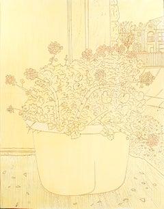 """Geraniums,"" Original Line Work Floral Still-life Oil signed by Robert Richter"