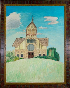 """""""Gingerbread Church"""" Oil Painting of Countryside Church signed by Robert Richter"""