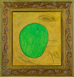 """Green Apple,"" Original Framed Still-life Oil signed on back by Robert Richter"