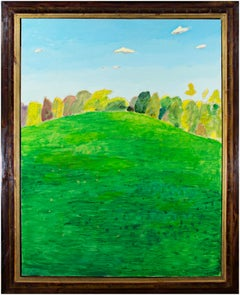 """Green Meadow,"" sunny landscape oil painting on wood by Robert Richter"