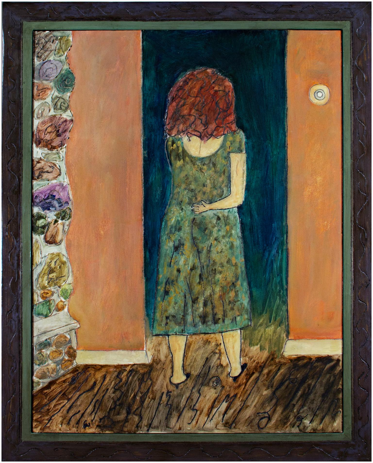 """""""Home from Work,"""" Oil Painting of Woman Indoors signed by Robert Richter"""